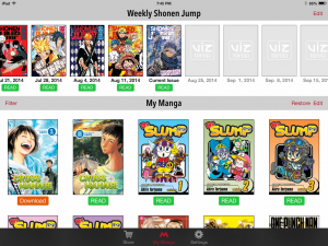 My Manga section of my Viz App, including Shonen Jump issues. Also, you should read Dr. Slump
