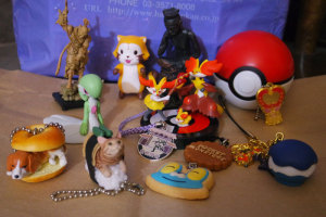 A large portion were charm-based, but there is a stamper Pokeball back there.