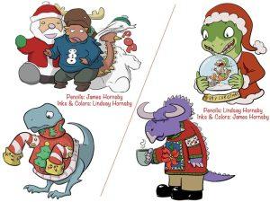 The 2014 Dinosaur Christmas Ornament Designs