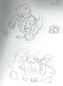 James's sketches were a wee fuzzy at the top, but still ink-over-able.