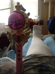 With my leg healing from being broken, I use a Sailor Moon wand instead of a bell to let folks know I need help.