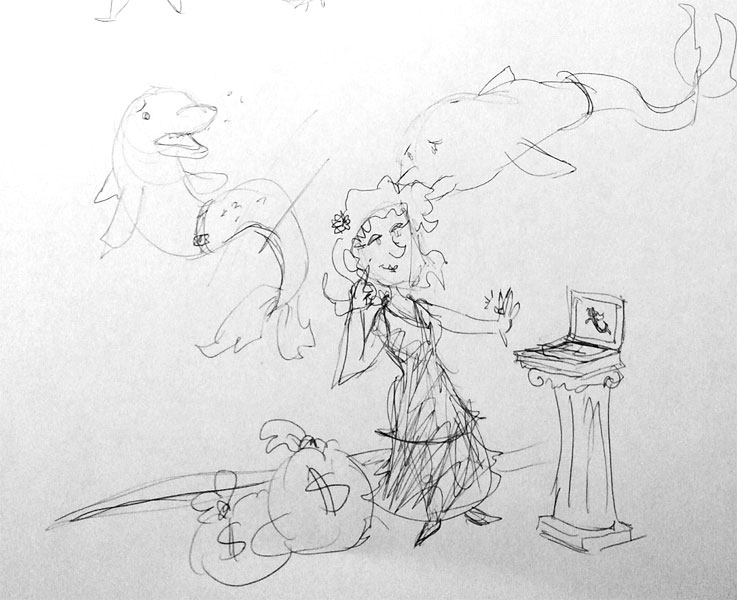 Concept sketch for the dolphins that seek vengeance in this book.