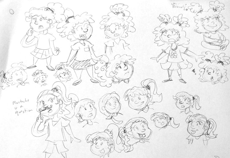 Concept sketches for hairstyles for Celia and Anna, which sometimes included broccoli hair.